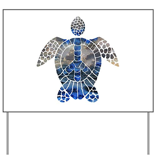 - CafePress Sea Turtle Peace Yard Sign, Vinyl Lawn Sign, Political Election Sign