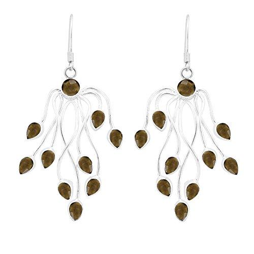 10.10ct, Genuine Cabochon Smoky Quartz & 925 Silver Plated Dangle Earrings (Cabochon Smoky Earrings)