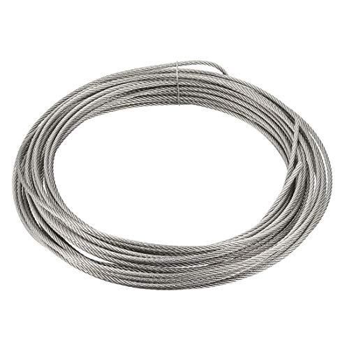 uxcell Stainless Steel Wire Rope Cable 2.5mm 0.1 inch Dia 32.8ft 10m Length 12 Gauge 304 Grade for Hoist Lifting Grinder Pulley Wheel