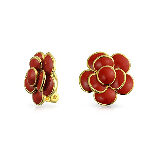 Red Enamel Rose Flower Spring Retro Clip On Earrings Button Style for Non Pierced Ears 14k Gold Plated Brass