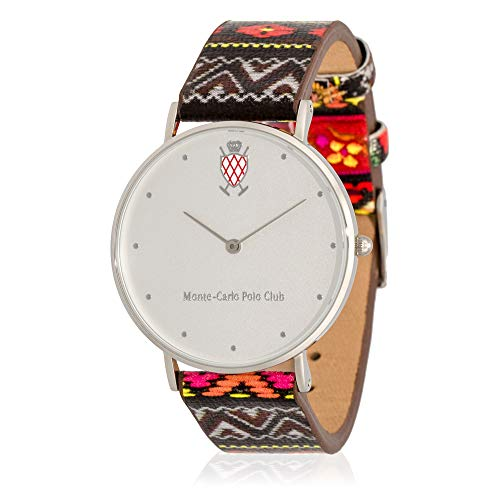 Leather Watch Carlo Monte (Monte-Carlo Polo Club Mens Classic Quartz Watch with Silver Dial and Leather Printed Strap)