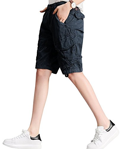Sportivi Da Estivi 4 Tinta Bottoni Donna Nero 3 A Keephen Unita Pantaloncini Casual PxqAY4EX