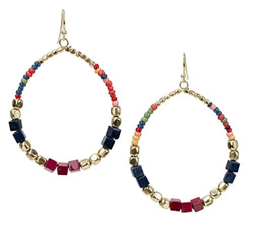 Bohemian Multi-Colored Cube Beaded Hoop Earrings for Women | SPUNKYsoul Collection (Navy/Red/Box)