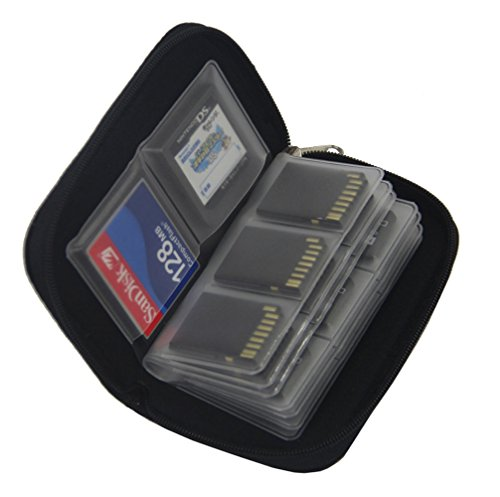 Memory Card Case SDHC CF Card Organizer 4 Large and 18 Small Slots Nylon SD Cards Holder (Black)