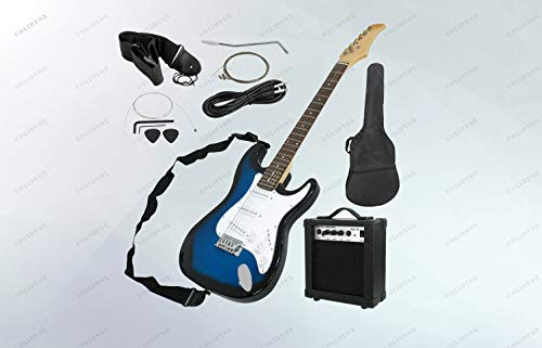 COLIDYOX>Full Size Blue Electric Guitar with Amp, Case and Accessories Pack Beginner, Delivers a smooth tone, Made of an all wood construction, steel strings, and an attractive, smooth finish,natural,