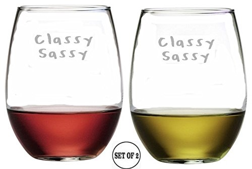 - Classy Sassy Stemless Wine Glasses | Etched Engraved | Perfect Fun Handmade Present for Everyone | Lead Free | Dishwasher Safe | Set of 2 | 4.25