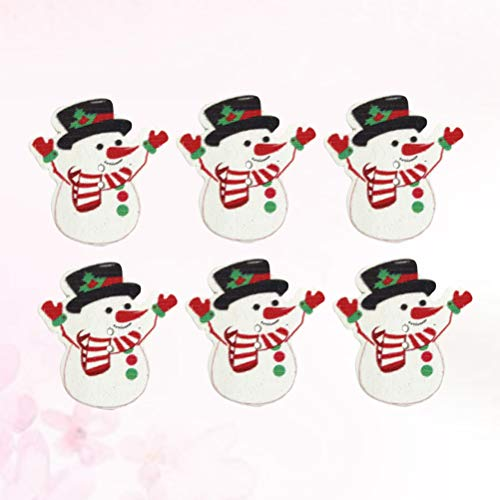 Healifty 50Pcs Wooden Buttons Snowman Shaped Two-Hole Decorative Buttons for Sewing DIY Craft (Mixed Color) - 35x32mm