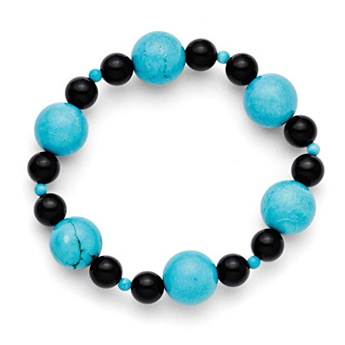 Teal Color Dyed Howlite & Black Agate Beaded Stretch Bracelet by Chisel