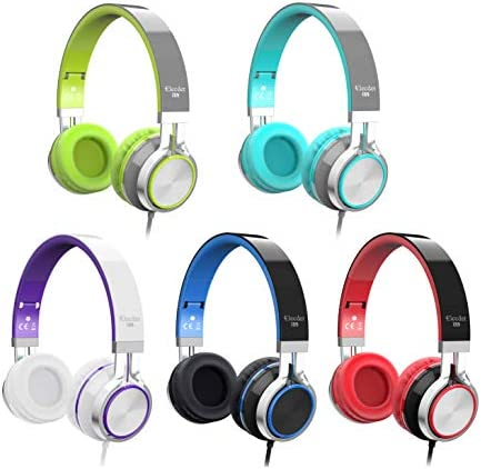 Elecder i39 Headphones with Microphone Foldable Lightweight Adjustable On Ear Headsets with 3.5mm Jack for iPad Cellphones Computer MP3/4 Kindle Airplane School (Mint/Gray) 414M8DqI7IL