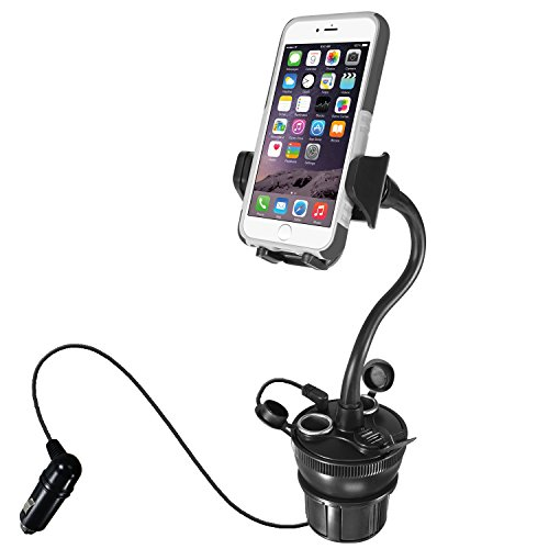 "Macally Car Cup Holder Phone Mount with Two High Powered USB Charging Ports 4.2A 21W, 2 Cigarette Lighter Sockets, & 8"" Long Neck for iPhone XS XS MAX XR X 8 8+ 7 Plus, Samsung Galaxy, etc (MCUPPOWER) from Macally"