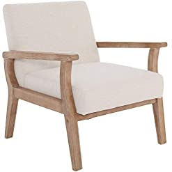 Farmhouse Accent Chairs Mid-Century Armchair with Wood Frames, White Linen Upholstered Farmhouse Living Room Chair, for Living Room Bedroom…