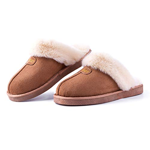 ALOTUS Women Slipper Faux Fur with Memory Foam Anti Skid Sole Indoor & Outdoor (9-10 Women/8-8.5 Men, Camel)