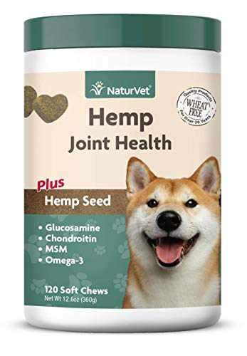 NaturVet - Hemp Joint Health for Dogs - Plus Hemp Seed - Supports Overall Joint Health - Enhanced with Glucosamine, MSM, Chondroitin & Antioxidants - 120 Soft Chews