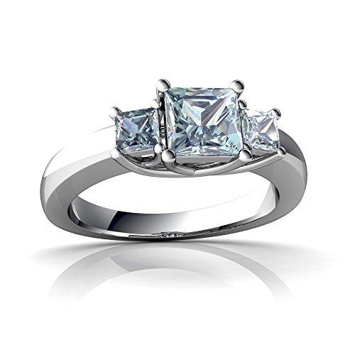Square Aquamarine 3 Stone Ring - 14kt White Gold Aquamarine 3mm Square Three Stone Trellis Ring - Size 5.5