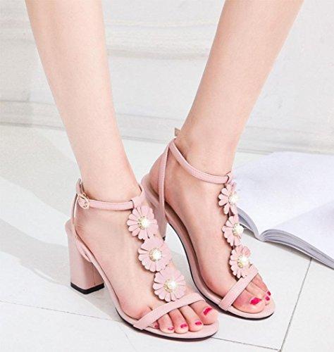 con de tamaño palabra verano abierta flores de zapatos en de sandalias sandalias hebilla tacón sandalias de bajo mujer Pink de la el Diamante gran punta gruesas ySw06qWw7