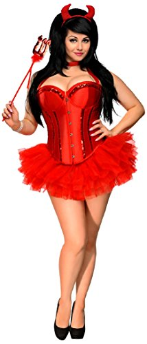 Daisy Corsets Women's 4 Piece Red Hot Devil Costume, Red, Small
