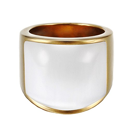 White Cat Eye Stone - LILILEO Jewelry Stainless Steel Gold Plating Retro Big White Cat's Eye Stone Ring For Unisex Rings