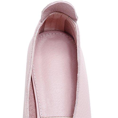 Ni Sju Ekte Skinn Kvinners Spiss Tå Lave Chunky Hæl Dressy Komfortable Håndlagde Loafers Sko Rosa