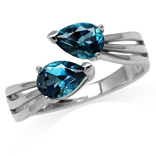 (1.74ct. Genuine Pear Shape London Blue Topaz White Gold Plated 925 Sterling Silver Bypass Ring Size 6)