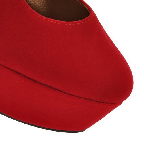 VogueZone009 Womans Closed Round Toe High Heel Spikes Stilettos Suede Frosted Solid Pumps, Red, 5 UK