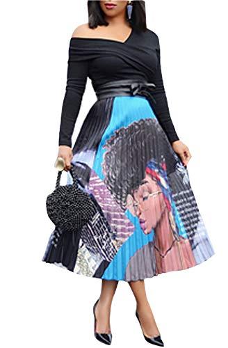 (MarcoJudy Women's Vintage Rainbow Printed A-line Pleated Flared Midi Skirts (Small, 02)