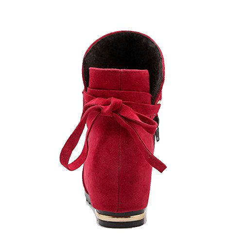 Low Women's Closed Top AgooLar Boots Toe Low Red Heels Zipper Round Solid 1HwOqFT