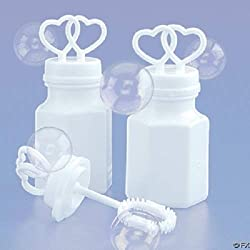 72 White Double Heart Wedding Bubbles Bridal Favors