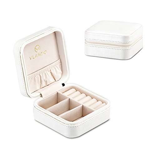 Vlando Small Travel Jewelry Box Organizer - Faux Leather Storage Case for Rings Earrings Necklace - Best Gifts Choice for Girls Women (White) Jewelry Accessories And Boxes