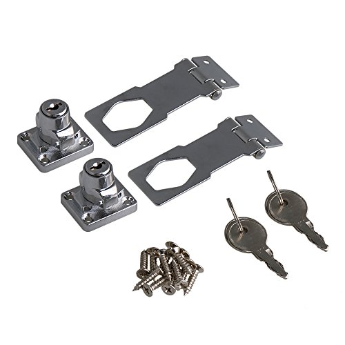 RDEXP 3Inch Length Silver Zinc Alloy Keyed Hasp Lock Twist Knob Keyed Locking Hasp w/Screw for Doors Cabinet Set of 2