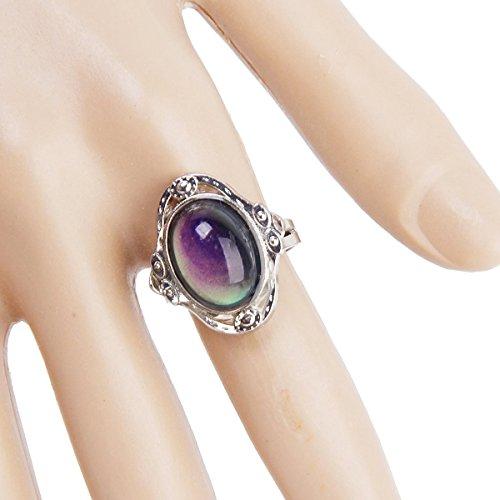Tinksky Gypsy Boho Estado de Ánimo dedo anillo de cambio ovalado ajustable