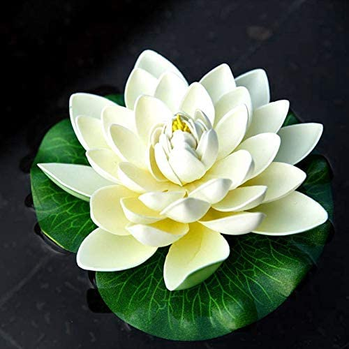 White,Perfect for Patio Koi Pond Pool Aquarium Home Garden Wedding Party Special Event Decoration Pceewtyt 6Pcs Artificial Floating Foam Lotus Flowers,With Water Lily Pad Ornaments