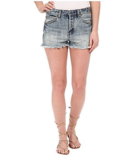 Free People Uptown High Waisted Denim Shorts Camp Faded Blue by Free People