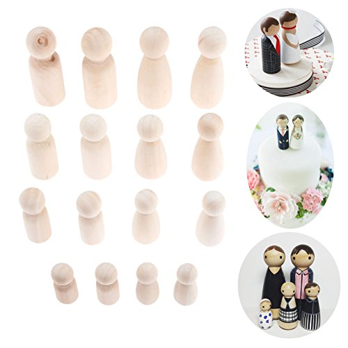 16個入り 男性&女性 混合セット 木製 DIY ペグ人形 贈り物 未塗 手作り 工芸部品 材料 工芸品 飾り 装飾品 ケーキトッパー 35mmの商品画像