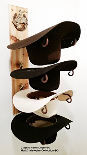 American Made Cowboy Hat Holder Wood with Buckin Bronc Golden Cedar Finish by Mark Christopher Collection