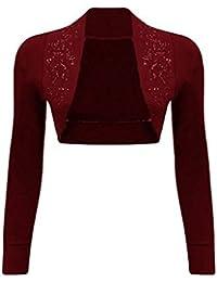 Women Ladies Long Sleeve Sequin Beaded Collared Short Bolero Shrug Cardigan Top Plus 8-26