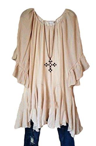 Dress Shoulder Beige Sleeve Batwing Jaycargogo Women's Off Tunics Top Irregular qgFOY