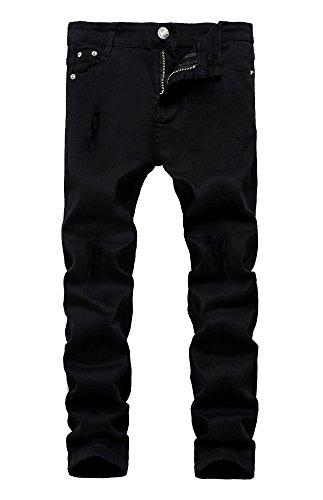 Boy's Skinny Ripped Destroyed Distressed Stretch Slim Biker Jeans Pants Black 7