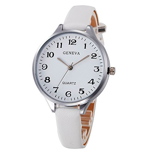 Wenini Women Casual Checkers Faux Leather Quartz Analog Wrist Watch Gift for Women Girls ()