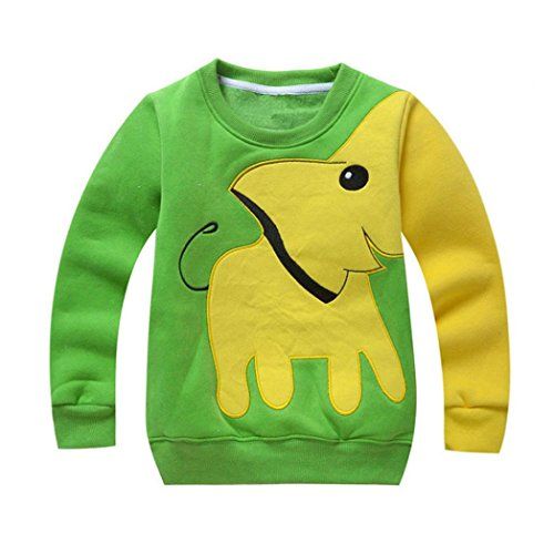 Toddler Sweatshirt MITIY Baby Girls Boys Clothes Elephant Long Sleeve Blouse Tops Sweater Shirtn Newborn-5Y (Green, 4T)