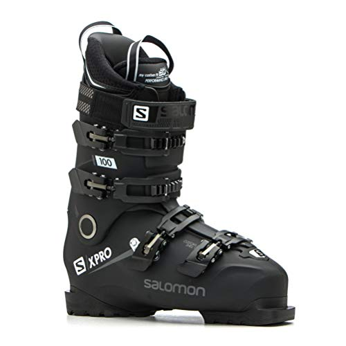 Salomon X-Pro 100 Ski Boots 2019-27.5/Black-Metallic Black-White (Best Ski Boots For Wide Feet 2019)