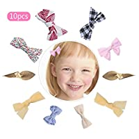 Hoomall 10 Pcs Hair Bows Clips for Girls Fabric Bow Knot Baby Hairpin