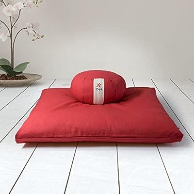 ZAFUKI Pack Zafu + Zabutón Rojo/Cojín para Yoga, Redondo ...