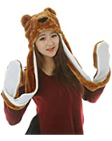 Pulama 21 Novelty Animal HAT Cosplay CAP - Unisex Fit Adult & Children- Soft Warm Headwraps Headwear with Mittens