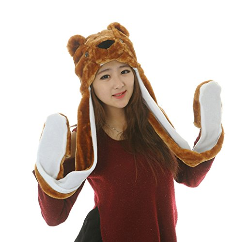 Bear Hands Mittens (Funnie 21 Novelty Animal HAT Cosplay CAP - Unisex Fit Adult & Children- Soft Warm Headwraps Headwear with Mittens (Teddy)