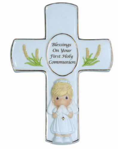 - Precious Moments,  Blessings On Your First Holy Communion, Bisque Porcelain Cross With Stand, Girl, 123408