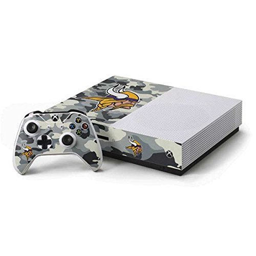 Skinit NFL Minnesota Vikings Xbox One S Console and Controller Bundle Skin - Minnesota Vikings Camo Design - Ultra Thin, Lightweight Vinyl Decal Protection