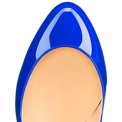 Toe Dress Fashion AIWEIYi Women's Blue Stiletto High Party Heels Round Pumps 8AxtnxRw