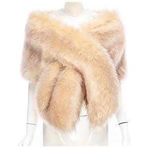 Changuan Women's Faux Fur Wedding Shawl Scarf Wraps Perfect for Wedding/Party/Evening