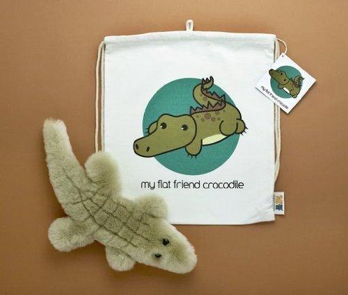 Flat Friends CROCLD Salt Water Crocodile Lambskin Soft Plush Toy Drawstring Bag
