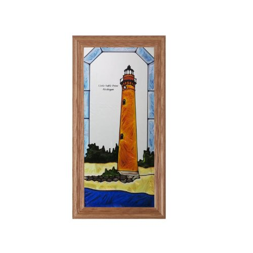 - Michigan Little Sable Point Lighthouse Painted Glass Panel C-249